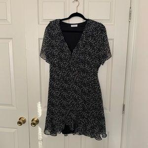Lush Black and White Polka Dot Wrap Dress